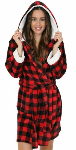Womens//Ladies Fleece Check Sherpa Robe//Dressing Gown Red Size 8-22