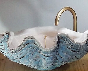 Details About Giant Clam Shell Sink Sculpture Counter Top Bathroom Basin En Suite Special Day