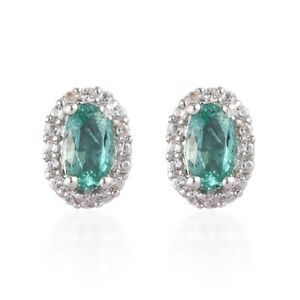 Sterling-Silver-Platinum-Over-AAA-Emerald-Zircon-Stud-Solitaire-Earrings-Ct-0-6