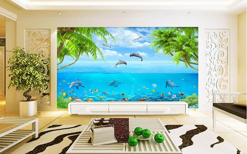 3D Natur-Delphin-Show 8 Tapete Wandgemälde Tapete Tapeten Bild Familie DE Summer