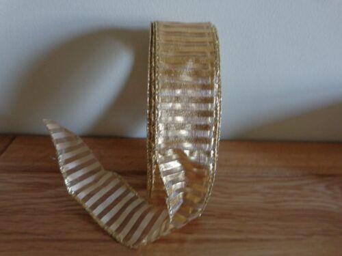 """ref IK1 5 Mètres or à rayures avec défauts Wire Edged Ribbon 3.8cm//1.5 /""""large."""