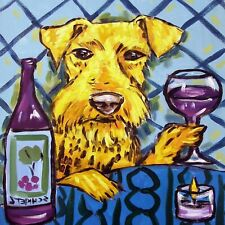 airedale terrier wine coaster animal dog art tile  gift artwork