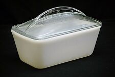 Vintage Westinghouse White Milk Glass Refrigerator Dish Pan w Clear Dome Lid MCM