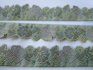 2-Meter-Borte-Spitze-3-7cm-Meer-Gruen-Gold-Nichtelastisch-breit-elegante-CL002-NC