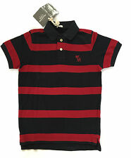 Abercrombie & Fitch Polo Piquet A&F Small Striped Burgandy Nav 100% Cotton
