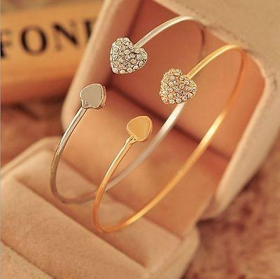 New Women Fashion Style Gold Rhinestone Love Heart Bangle Cuff Bracelet Jewelry