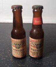 Vintage Set of Miniature Mini Glass BUDWEISER BEER BOTTLE SALT & PEPPER SHAKERS
