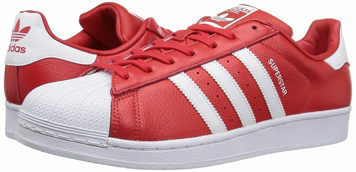 ADIDAS SUPERSTAR ORIGINAL LEATHER LOW SNEAKERS MEN SHOES RED B2240 SIZE 11 NEW
