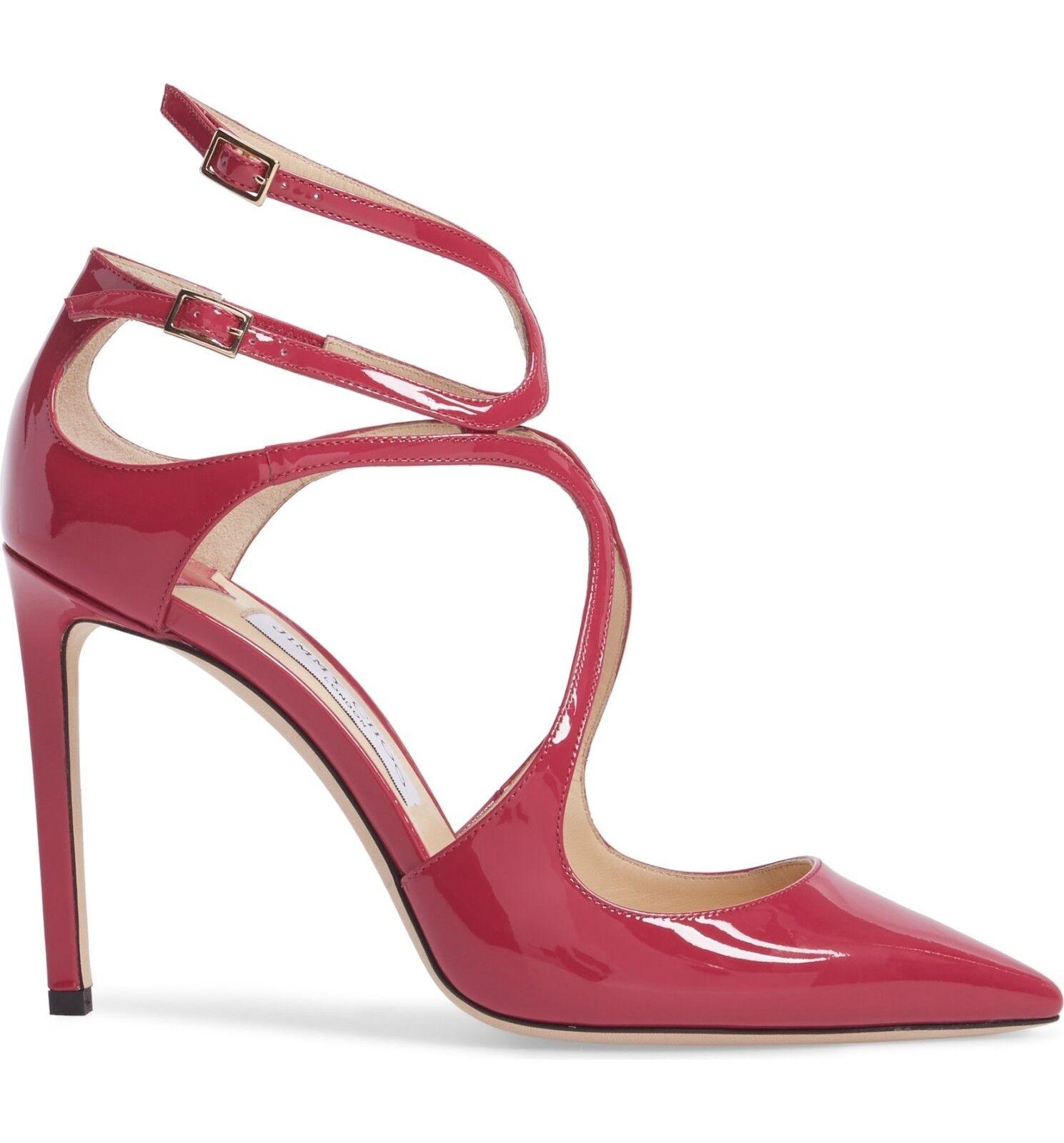 Nuevo En Caja  795 Jimmy Choo Lancer Zapato tacón de tacón Zapato Bomba Con Tiras Cerise rosado patente 39 - 8.5 969917