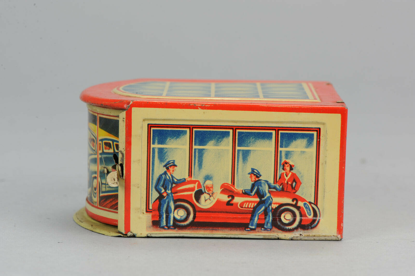 _AntiqueTin leksakare Sällsynt Gescha Pennyleksak Formula 1 Garage Tyskland