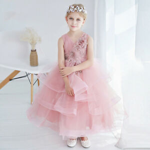 Beautiful-Pink-Flower-V-Neck-Girls-Dress-for-Party-Tiered-Wedding-Dresses-Gowns