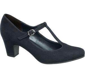 Deichmann Graceland Women T Bar Shoes Navy New