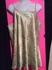Womens Plus 3X Green Floral Silky Nighty Nightgown Gown Pajamas Sleepwear Casual