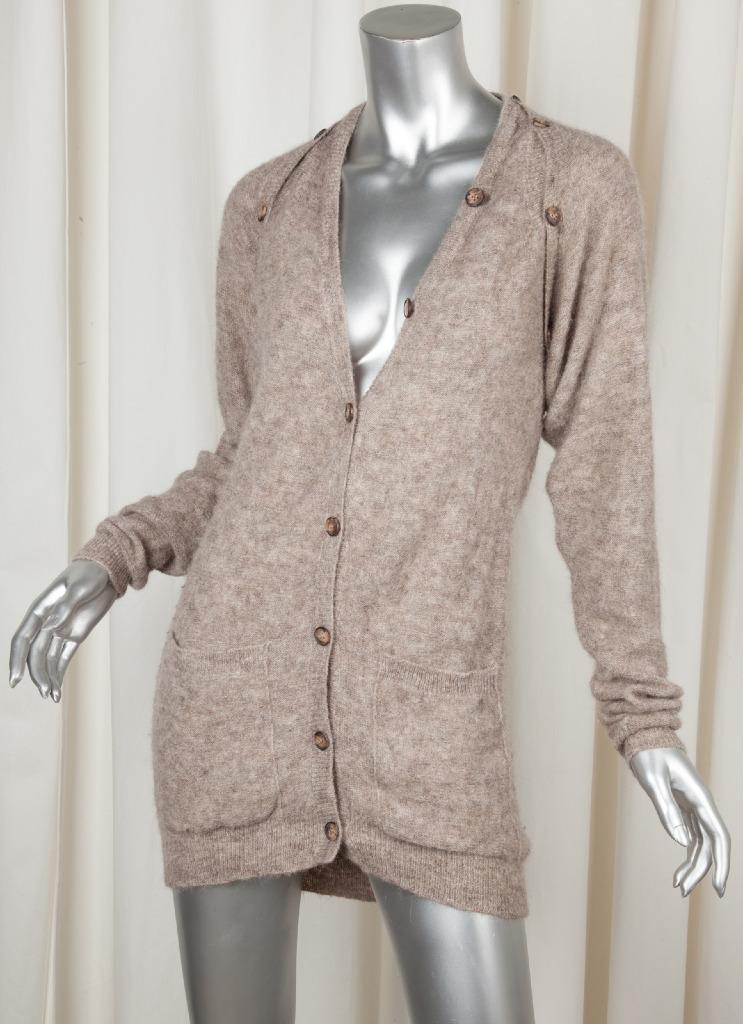 MM6 MAISON MARTIN MARGIELA Womens Brown Alpaca Long-Sleeve Cardigan Sweater S