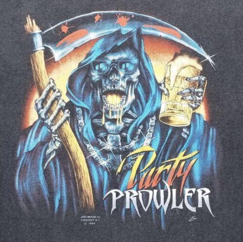 Reaper 1989 3D Emblem Brass inc Harley Davidson Party Prowler Shirt 2X-Large