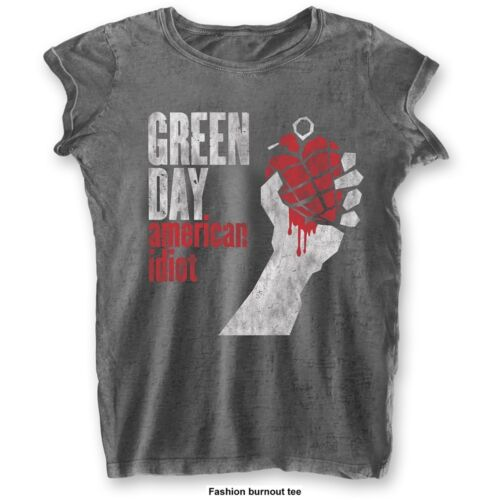 Fashion Small Charcoal Grey Ladies Green Day American Idiot Vintage T-shirt