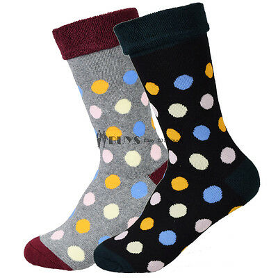 FITU Gift Box 2 Pairs Lot Women Cushioned Cotton Socks Terry Loop Warm Polka Dot