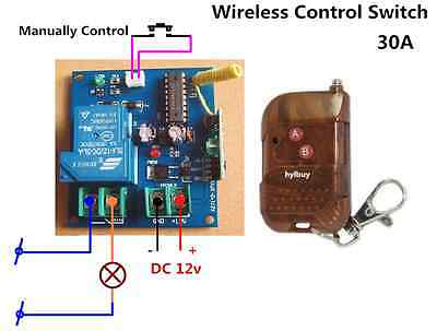 30A High Power DC 12v Wireless Relay Control Switch+Remote off/on AC 110v 220v