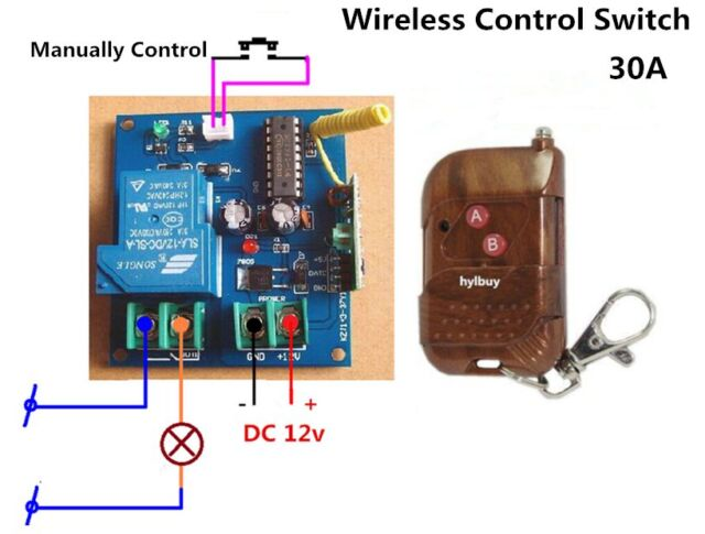 30a high power dc 12v wireless relay control switch remote off on ac rh ebay com 12v 4ch 200m wireless remote control relay switch transceiver + receiver 12V 120V Coil Relay Switch