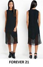 FOREVER 21 New Asymmetrical Hem Sexy Shift Black Dress Contrast Fabric Size XS/S
