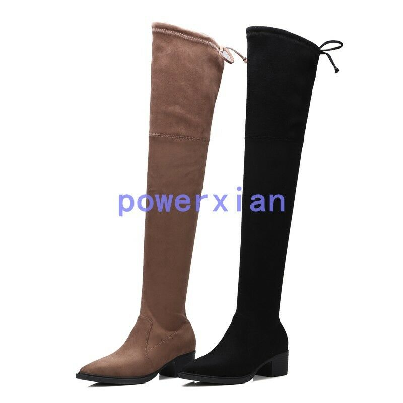 Womens Chunky Block Heels Over The Knee Boot Pointy Toe Stretchy Knight shoes 9