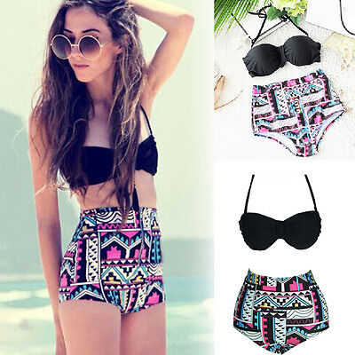 Hot Retro Vintage Women High Waist Bikini Set Black Top & Floral Bottom Swimwear