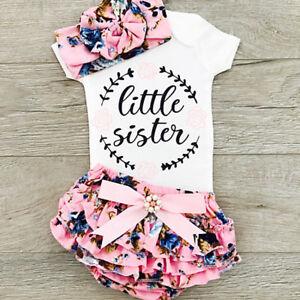 Newborn Baby Girls Outfits Clothes Romper Jumpsuit Bodysuit+Pants+Headband Set A