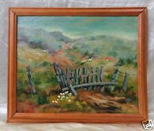 """Old Linda Lynch Oil Painting """"Keep Out Fence"""" w/ Vintage Wooden Frame 19x23"""""""