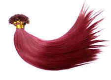 20 Remy Echthaar Strähnen Haarverlängerung 25cm weinrot Hairextensions glatt