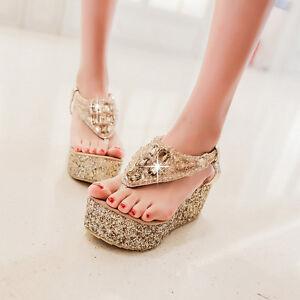 Ladies-Womens-Platform-Wedge-Flip-flops-Sandals-New-diamante-Party-Beach-Shoes