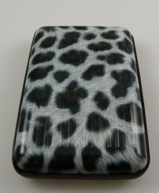 Id card holder case snow leopard print protect your credit cards security wallet