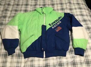 Vintage-1980-039-s-Team-Kawasaki-Racing-Jacket-Size-Small-RARE