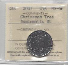 **2007 X-Mas Tree**, ICCS Graded Canadian, 25 Cent, **MS-66 NBU**
