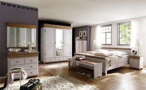 Details zu Massivholz Schlafzimmer-Set komplett 8teilig weiß antik Kiefer  massiv Landhaus