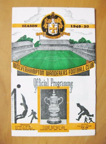 WOLVES v BIRMINGHAM CITY 19491950 Excellent Condition Football Programme