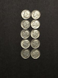 ROOSEVELT-SILVER-DIMES-90-SILVER-Lot-of-10-1946-1964-NO-CULLS-RANDOM-DRAW