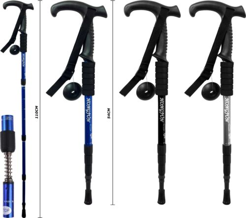 NEW 3 JOINT FLARED HANDLE HIKING CAMPING TREKKING WALKING STICK TELESCOPIC POLE