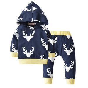 NWT-Baby-Boys-Reindeer-Navy-Blue-Hoodie-Hooded-Shirt-amp-Pants-Outfit-Set