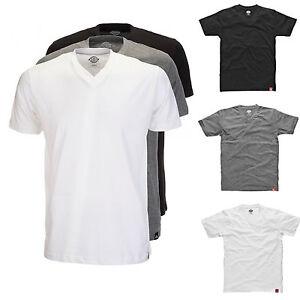 Dickies-CAMISETA-T-SHIRT-Paquete-Hombre-3x-cuello-redondo-en-V-Negro-gris