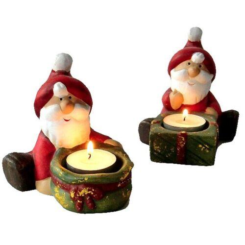 XXL NIKOLAUSI 2 Stück GROSSE Teelichthalter Kerzenhalter WEIHNACHTSMANN Nikolaus