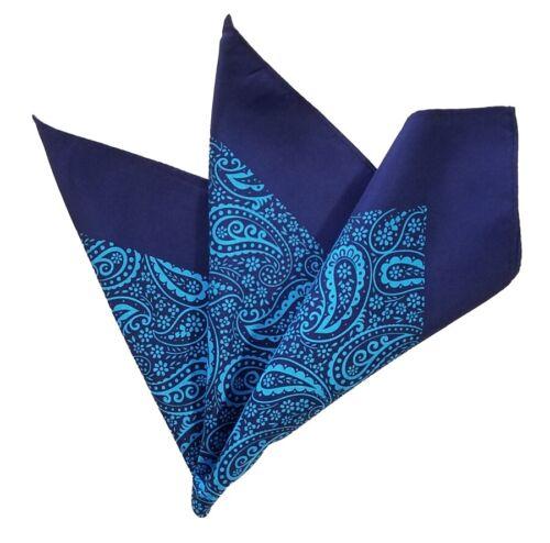 Men/'s 100/% Silk Large Pocket Square Dark Blue /& Turquoise Paisleys 13.5in NEW