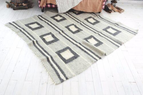 Modern Area Rug Contemporary Geometric Carpet Gray White Pure 100/% Wool Handmade