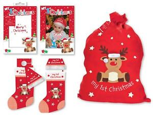 MY FIRST CHRISTMAS 1ST XMAS SACK STOCKING SANTA HAT PHOTO FRAME ... 123df86a7