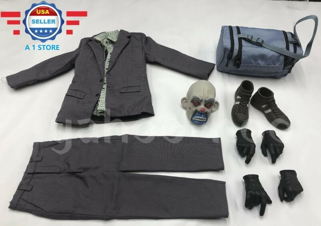 1/6 Scale Joker Bank Robber Outfit w/ Mask Gloved Hands for 12'' Male Figure