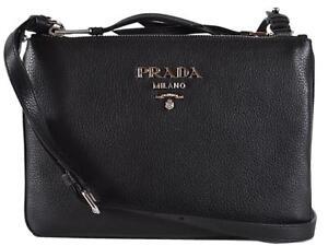6dff902a8317 Image is loading New-Prada-1BH046-Black-Vitello-Leather-Bandoliera-Double-