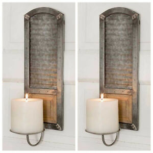 Pair Of Galvanized Metal Candle Holders
