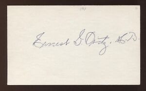 Ernie Ovitz Signed 3x5 Index Card Autographed Vintage Baseball Signature