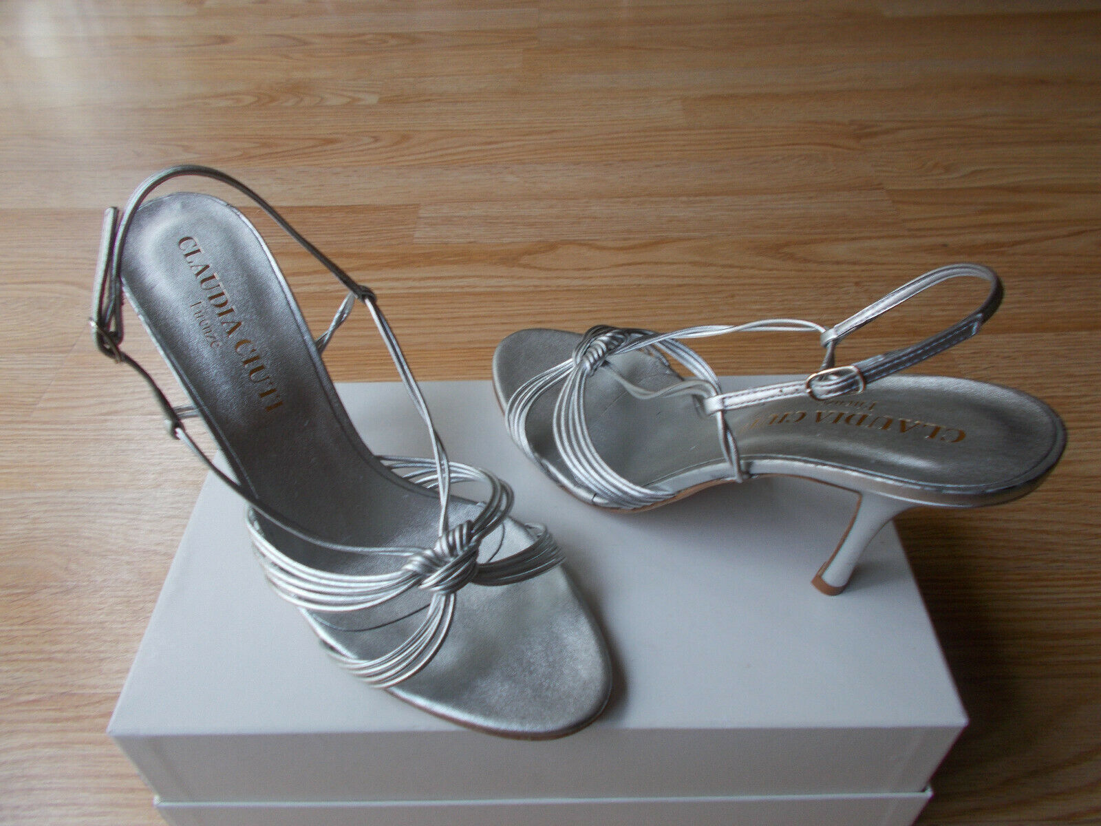 Claudia Ciuti Strappy Sandals Heels Slingbacks Silver Nappa Leather Leather Leather sz 10.5 NEW 9d9be1