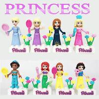 8 Pcs Minifigure Disney Princesses Mermaid Magical World Building Toys For Kids
