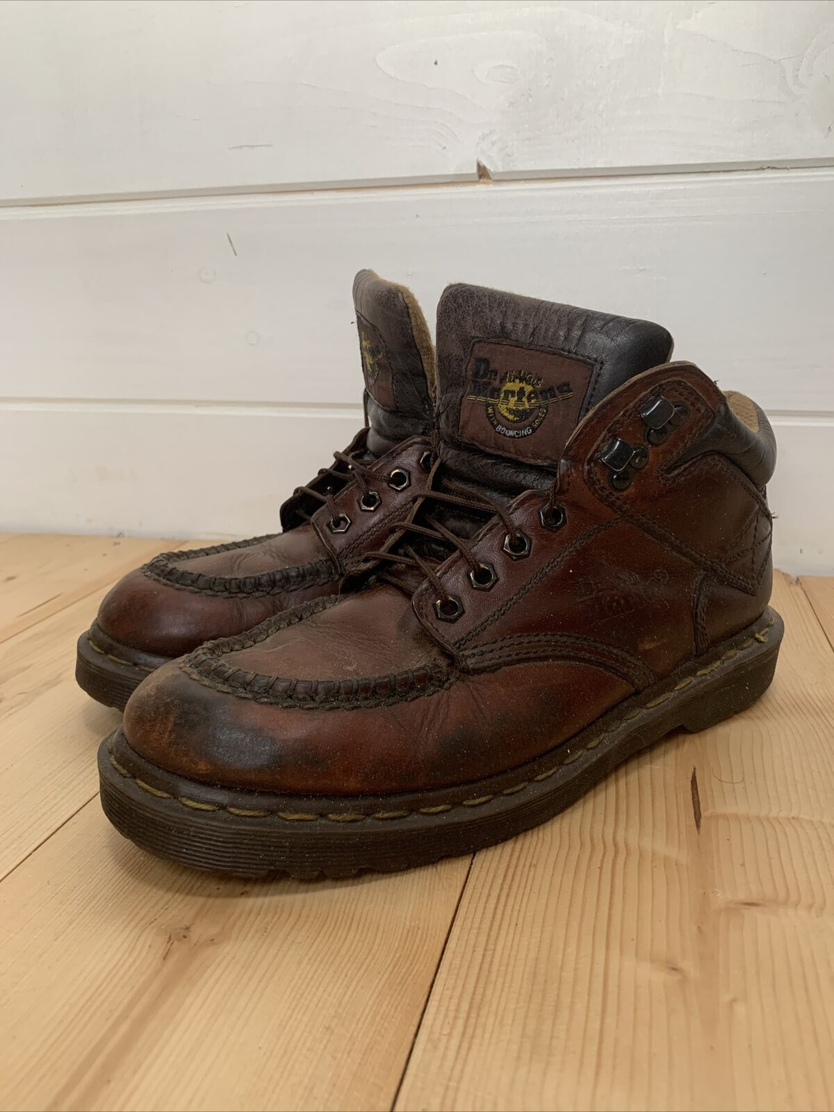 Dr. Martens Men's Brown Leather Made In England Boots Size UK 8 EU 42.5 High Top